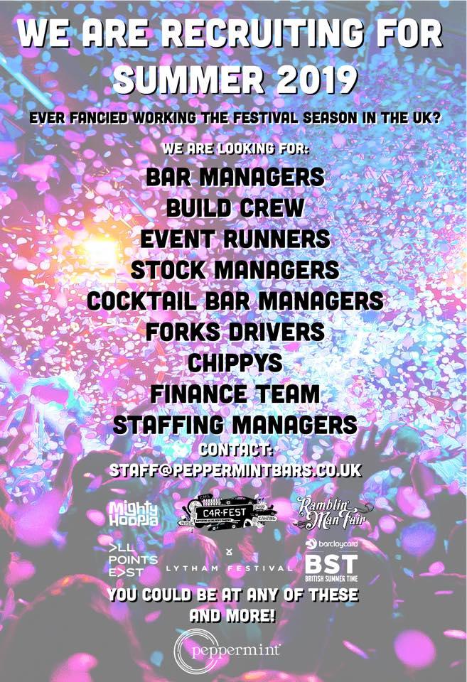 Peppermint - Summer Vacancies - Bar Jobs, Festival Work 2019